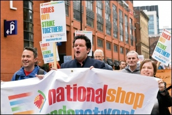 Marching to TUC congress after the NSSN rally, 9.9.18, photo Mary Finch