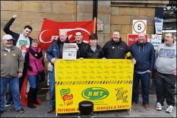 Striking RMT members, photo by Socialist Party