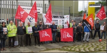 Liebherr crane factory workers on strike, photo by Elaine Brunskill