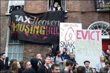 The North Frederick Street housing occupation in Dublin, photo by Socialist Party Ireland