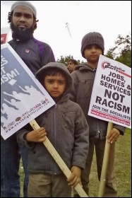 Jobs, homes and services - not racism, photo by Bob Severn