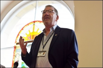 Len McCluskey, NSSN rally Sept 2018, photo Mary Finch