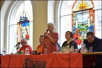 Linda Taaffe speaking, NSSN rally Sept 2018, photo Mary Finch