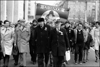 Some of Liverpool's Militant-led socialist Labour councillors, including Tony Mulhearn (second from left in flat cap), photo Militant