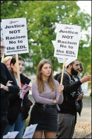 Protesting against the EDL in Huddersfield, 5.9.18, photo by Huddersfield Socialist Party