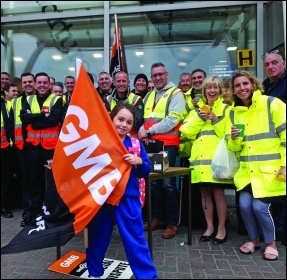 GMB union members on strike at Liverpool airport, September 2018, photo Hugh Caffrey