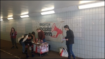 Sussex University Socialist Students freshers campaign stall 19 September 2018, photo Scott Jones