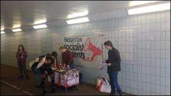 Sussex University Socialist Students freshers campaign stall 19 September 2018, photo Scott Jones