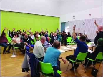 Residents vote at the Barking Riverside Tenants Association AGM