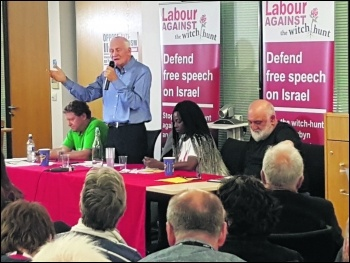 Tony Mulhearn at the 'Labour against witch hunt' meeting, photo Dave Walsh