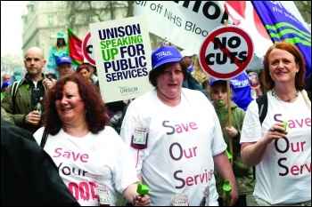 NHS workers protest against privatisation of the blood service, photo Paul Mattsson
