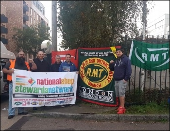 RMT Piccadilly Line picket line 26 September 2018, photo NSSN