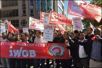 Uber drivers on strike on 9 October - part of a new wave of workers fighting back, photo by Paula Mitchell