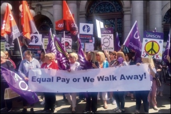 Glasgow council workers protesting for pay equality, photo Glasgow City Unison