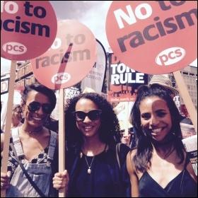 Demonstrating against racism