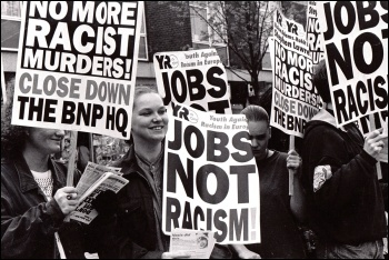 Militant and YRE supporters marching against the BNP in 1993, photo by Ged Grebby