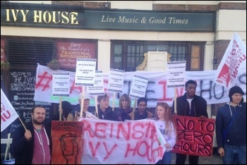 Ivy House pub strikers and supporters on the picket line, 30.9.18, photo by Ivy House Union