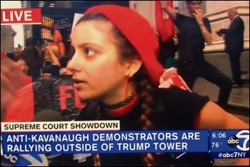 Protesters demonstrating against Kavanaugh pictured on ABC7NY news