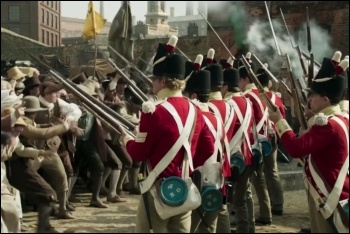Mike Leigh's Peterloo portrays British capitalism's armed attack on hungry workers in Manchester, photo (fair dealing)