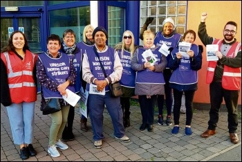 Birmingham home carers on strike, 9.10.18, photo Birmingham Socialist Party