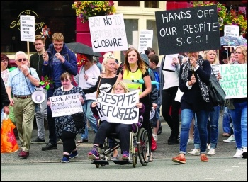 Fighting to keep open Kentish Road Respite Centre, with anti-cuts councillor Keith Morrell left (on megaphone), photo Southampton Socialist Party, photo Southampton Socialist Party
