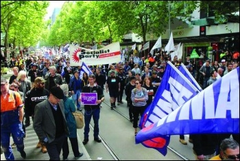 Trade union rally brings Melbourne to a standstill, photo Socialist Party Australia