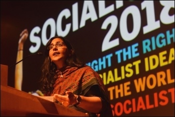 Kshama Sawant speaking at Socialism 2018, photo Mary Finch