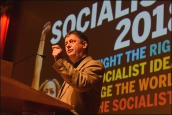 Chris Baugh speaking at Socialism 2018, photo Mary Finch