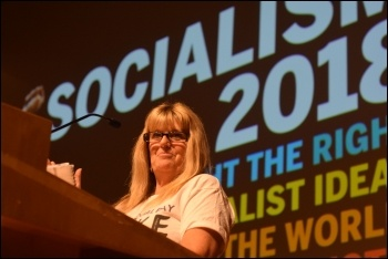 Denise Phillips speaking at Socialism 2018, photo Mary Finch