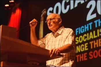 Peter Taaffe speaking at Socialism 2018, photo Mary Finch