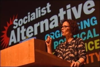 Hannah Sell speaking at Socialism 2018, photo Mary Finch