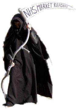 Grim reaper haunts NHS market reforms, photo Alison Hill