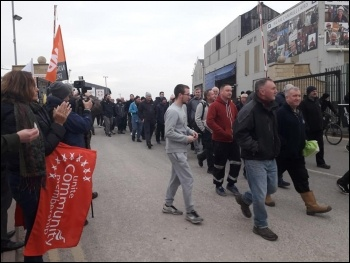 Merseyside Cammell Lairds shipbuilding workers walk out 23 November, photo Hugh Caffrey, photo Hugh Caffrey
