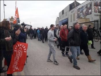 Merseyside Cammell Lairds shipbuilding workers walk out 23 November, photo Hugh Caffrey, photo Hugh Caffrey