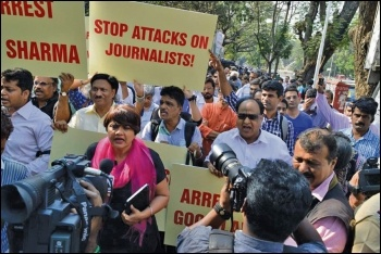 Protest by Indian journalists against attacks, photo by Mumbai Press Club