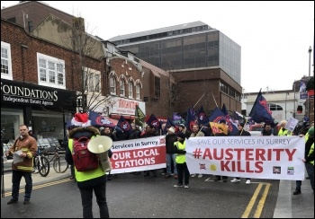 Woking anti-austerity protest, Dec 2018, photo by Helen Couchman
