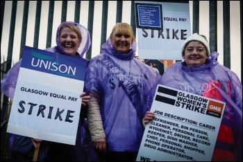 Glasgow Unison members on strike for equal pay, photo Public Services International/CC
