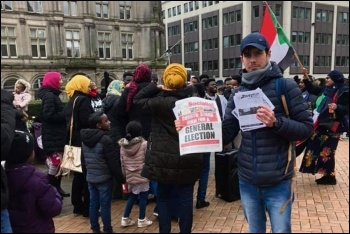 Birmingham protest in solidarity with the movement in Sudan, 27.1.19, photo by Birmingham Socialist Party