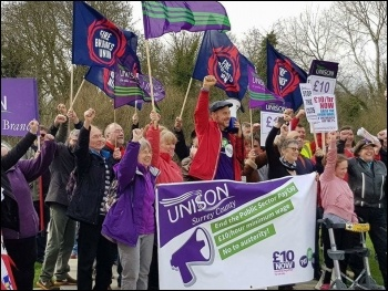 Surrey Unison marching against austerity in April 2018