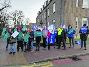Leicester college workers strike against cut in terms and conditions 6 February 2019, photo Franklin O'Riordan