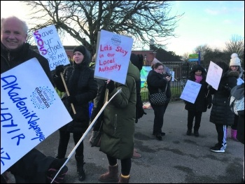 Enfield strike against academisation, photo Paula Mitchell