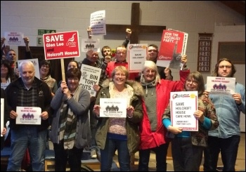 Socialist Party member Sue Atkins (second from right) is fighting school and care home cuts - for a no-cuts budget in the city of Southampton