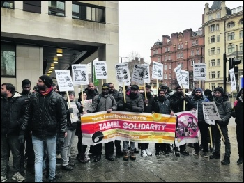 Protesting outside the Sri Lankan High Commission on 1 February, photo Tamil Solidarity, photo Tamil Solidarity