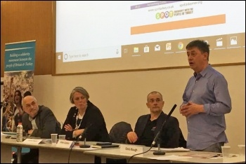 Chris Baugh speaking at the Spot conference, 9.2.19, photo by London Socialist Party