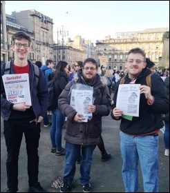 Socialist Students and Socialist Party members, Glasgow 15.2.19, photo by Glasgow Socialist Students
