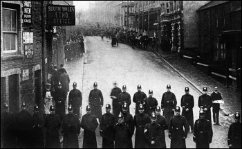 Police blocking a street during the Tonypandy miners' strike of 1910-1911