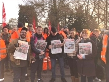 22nd February 2019, Birmingham, Socialist Party members supporting the strike action of council employed bin workers - striking on the same day as home carers - in a day of joint action, photo Birmingham SP