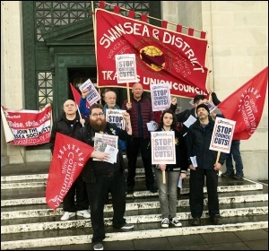 Trade union and Socialist Party members protesting for a no-cuts budget in Swansea, 28.2.19, photo by Socialist Party Wales