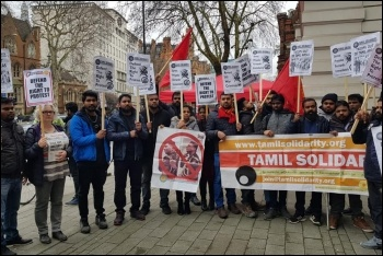 Tamil Solidarity and Socialist Party members call for action against death-threat brigadier Priyanka Fernando, 1.3.19, photo by London Socialist Party