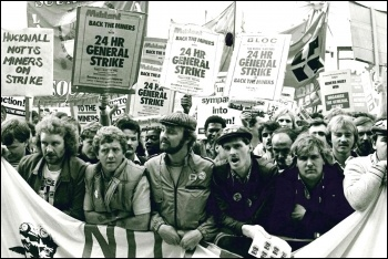 Miners lobbying the TUC, photo by Dave Sinclair
